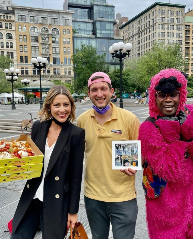 pizza barter guy does his first pizza barter from his pizza shop in union square with his friend Federica Martella.